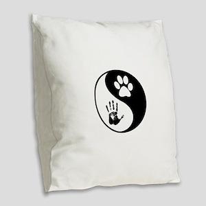 Balancing Humanity Burlap Throw Pillow