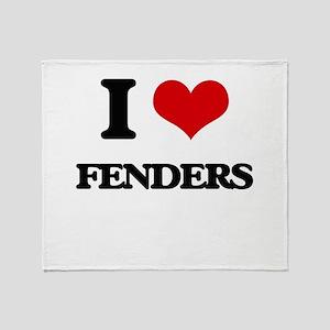 I Love Fenders Throw Blanket