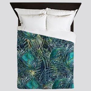 Colorful Peacock Feathers Queen Duvet