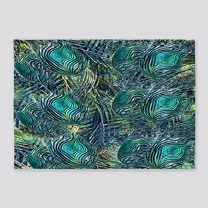 Colorful Peacock Feathers 5'x7'Area Rug
