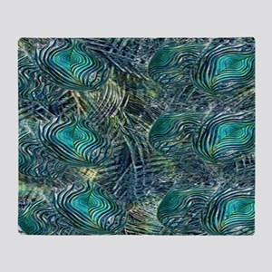 Colorful Peacock Feathers Throw Blanket