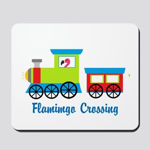 Flamingo Crossing Train Mousepad