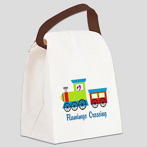 Flamingo Crossing Train Canvas Lunch Bag