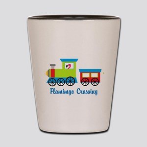 Flamingo Crossing Train Shot Glass