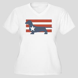 Patriotic Dachshund Women's Plus Size V-Neck T-Shi