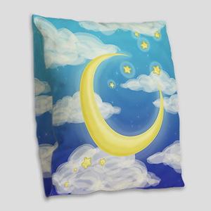 Moon Blue Burlap Throw Pillow