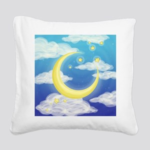 Moon Blue Square Canvas Pillow