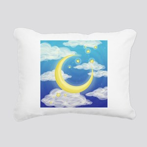 Moon Blue Rectangular Canvas Pillow