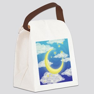 Moon Blue Canvas Lunch Bag