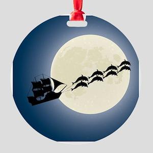Santa Pirate Ship Round Ornament