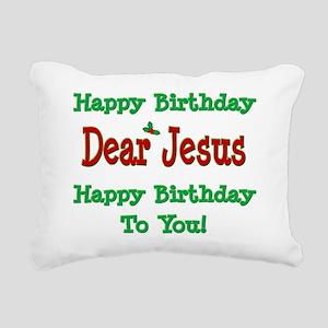 Happy Birthday Jesus Rectangular Canvas Pillow