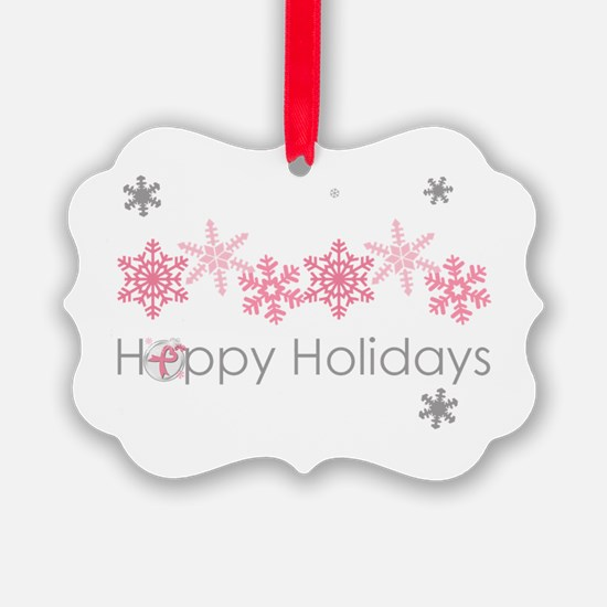Pink Snkowflake Holidays Ornament