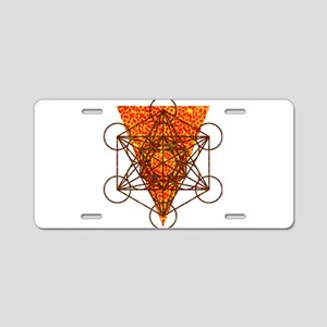 Sacred Pizza Geometry Aluminum License Plate
