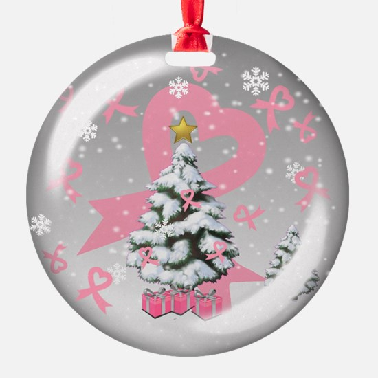 Breast Cancer Christmas Globe Ornament