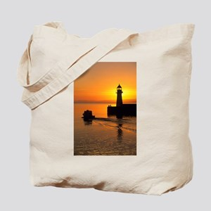 Sunrise, Harbour Lighth - Alaska Stock Tote Bag 17