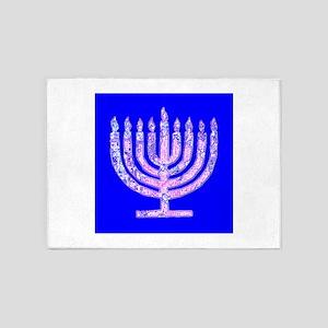 Blue Menorah Hanukkah for Lemuel 5'x7'Area Rug