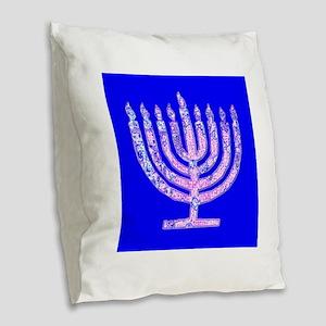 Blue Menorah Hanukkah for Lemu Burlap Throw Pillow