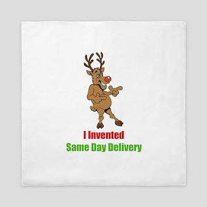 Reindeer invents Same Day Delivery Queen Duvet