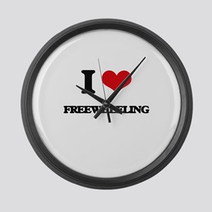 I Love Freewheeling Large Wall Clock