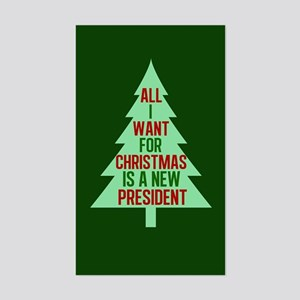 Anti Trump Christmas Sticker (Rectangle)