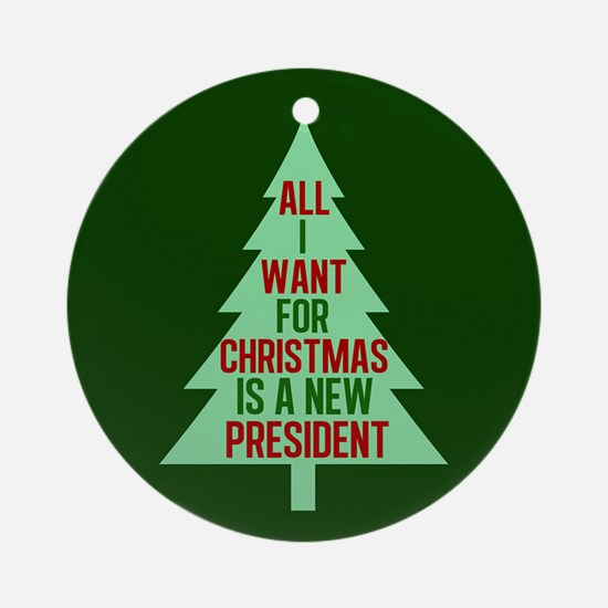 Anti Trump Christmas Round Ornament
