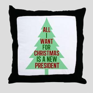 Anti Trump Christmas Throw Pillow