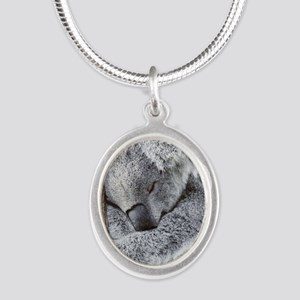 Sleeping Koala baby Silver Oval Necklace