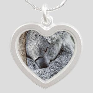 Sleeping Koala baby Silver Heart Necklace