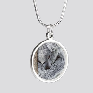 Sleeping Koala baby Silver Round Necklace