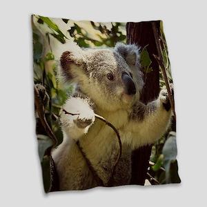 Sweet Baby Koala Burlap Throw Pillow