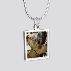 Sweet Baby Koala Silver Square Necklace