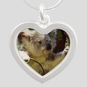 Sweet Baby Koala Silver Heart Necklace