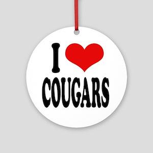 I Love Cougars Ornament (Round)