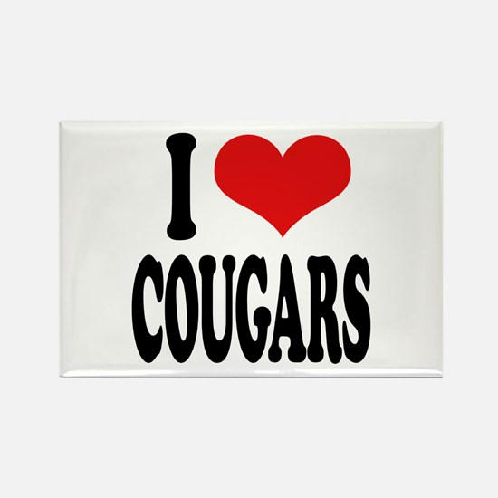 I Love Cougars Rectangle Magnet