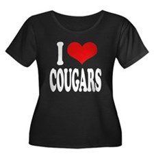 I Love Cougars Women's Plus Size Scoop Neck Dark T