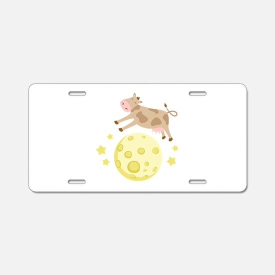 Cow Over Moon Aluminum License Plate