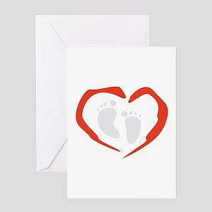 Heart Feet Greeting Cards