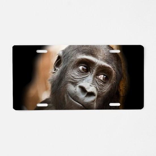 Smiling Gorilla Baby Aluminum License Plate