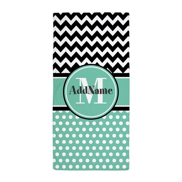 Mint Polka Dots Black Chevron Monogram Beach Towel By