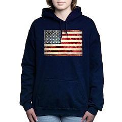 Vintage American Flag Women's Hooded Sweatshirt