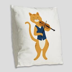 Fiddle Cat Burlap Throw Pillow