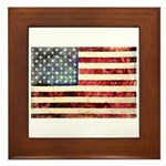 Vintage American Flag Framed Tile