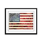 Vintage American Flag Framed Panel Print