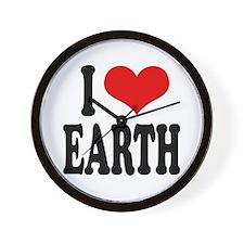 I Love Earth (word) Wall Clock