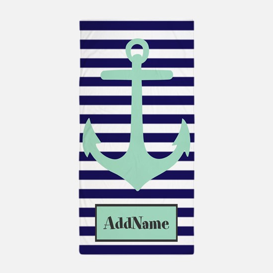 Navy Blue and Mint Monogram Anchor Beach Towel