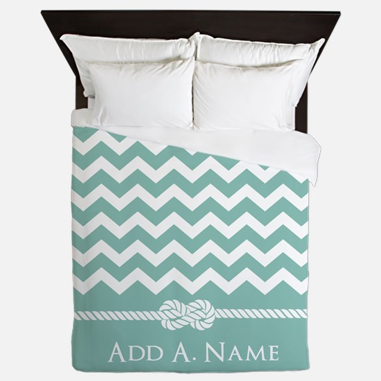 Mint and White Chevron Personalized Queen Duvet
