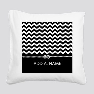 Black and White Chevron Perso Square Canvas Pillow