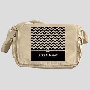 Black and White Chevron Persoanlized Messenger Bag