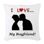 I Love My Boyfriend Woven Throw Pillow