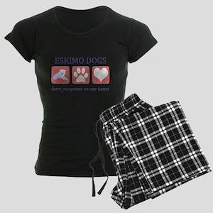 FIN-eskimo-dogs-pawprints Women's Dark Pajamas